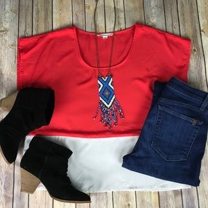 FOREVER 21 COLOR BLOCKED BLOUSE